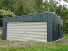 Gold Coast Skillion Roof Garage Garage Studio, Garage Shop, Garage Gym, Metal Barn, Metal Roof, Prefab Sheds, Concrete Garages, Metal Cladding, Shed Homes