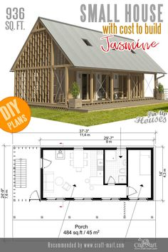 Small home plans like Jasmine are always appealing to the public due to their simple layouts and classic looks. Small home plans like Jasmine are always appealing to the public due to their simple layouts and classic looks. Easy Wood Projects, Cool Woodworking Projects, Diy Woodworking, Woodworking Patterns, Project Ideas, Small House Plans, House Floor Plans, Backyard Sheds, Built In Bookcase