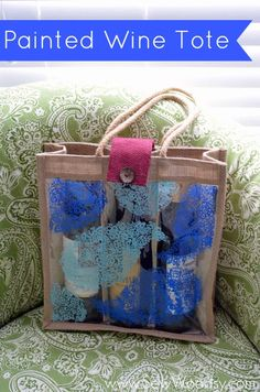 Painted Wine Tote from SewWoodsy.com #12MonthsOfMartha #MarthaStewartCrafts