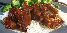 Slow Cooker Ribs with Rice and Broccoli