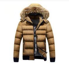 Men's Warm Hooded Down Winter Jacket 2 Tones Free Shipping