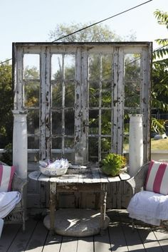 Dishfunctional Designs: New Takes On Old Doors: Salvaged Doors Repurposed Old Windows, Windows And Doors, Recycled Windows, Recycled Wood, Recycled Glass, French Windows, Garden Cottage, Home And Garden, Diy Garden