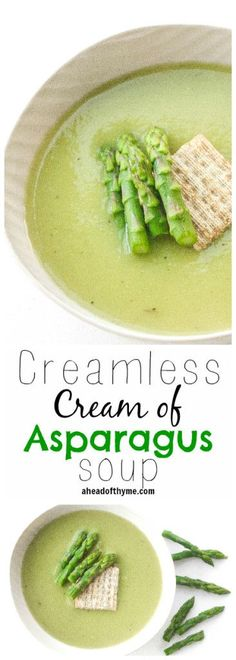 Cream of Asparagus Soup Creamless Cream of Asparagus Soup: Take advantage of in-season asparagus this spring and savour its flavour in a delicious and smooth, creamless cream of asparagus soup Healthy Soup Recipes, Chili Recipes, Whole Food Recipes, Vegetarian Recipes, Cooking Recipes, Drink Recipes, Cleanse Recipes, Vegan Asparagus Recipes, Creamed Asparagus
