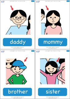"Family member flashcards for the Super Simple Learning version of ""Rain Rain Go Away."" #preK #Kindergarten #ESL"