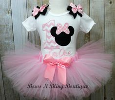 1st Birthday Outfit Pink Minnie Mouse Chevron Tutu First Birthday