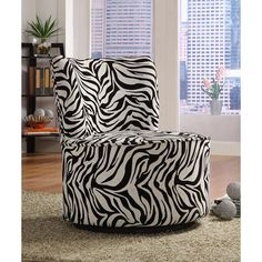 Zebra print swivel chair