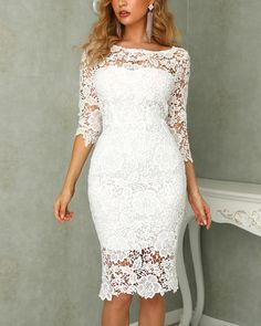Crochet Floral Lace Bodycon Dress Shop- Women's Best Online Shopping - Offering Huge Discounts on Dresses, Lingerie , Jumpsuits , Swimwear, Tops and More. Sweet 16 Dresses, Sweet Dress, Short Dresses, Formal Dresses, Backless Homecoming Dresses, Lace Homecoming Dresses, Dresses To Wear To A Wedding, Pagent Dresses, V Neck Wedding Dress