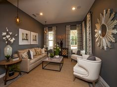 Living Room Furniture Arrangement: Gorgeous and Classy Looks: Grey Wall Of Living Room Designs with Vaulted Ceiling Grey Room, Living Room Grey, Small Living Rooms, Living Room Designs, Living Room Decor, Living Spaces, Modern Living, Dining Room, Cozy Living