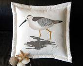 "Sandpiper pillow 20"" shorebird coastal curlew beach dowitcher ocean snipe godwit dunlin bay bird birding seashore marine saltwater"
