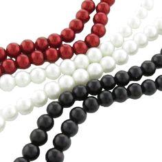 105 Glaswachsperlen 8mm weiß rot schwarz 84cm Strang Beads Glas Schmuck Perlen | Glaswachsperlen | Perlen |  günstig kaufen bei Bacabella.com | Perlen, Schmuck und Schmuckzubehör zum Schmuck selber machen | Schmuck basteln DIY DoItYourself | ganz individuell und einfach | Schmuckperlen