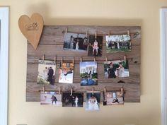 Shabby chic homemade wedding photo board! Created by my wonderful hubby