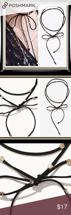 """✨NEW ARRIVAL✨Lariat Wrap Choker with Crystals 🆕Gorgeous high quality faux suede double rope wrapped choker with crystals down the entire length of necklace. 50"""" in length with gold beads on both ends...totally on trend this season and this one is GORGEOUS! *Choker only, not other jewelry pictured in pics 1 and 4*🔹NO TRADES🔹PRICE WILL BE FIRM UNLESS BUNDLED🔹💟20% OFF BUNDLES💟 LDB Jewelry Necklaces"""