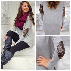 Grey long sweater with gold rush elbow patches, black leggings, purple scarf and long black boots for fall LOVE