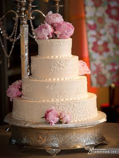 All White Wedding Cake with pink peonies