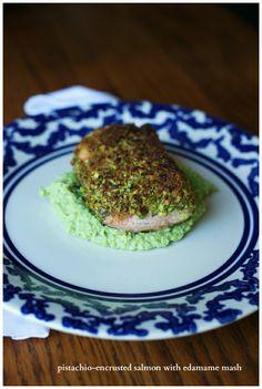 Pistachio Encrusted Salmon with Edamame Mash by glutenfreegirl via beforeitsnews #Salmon #Edamame #Pistachio #Healthy