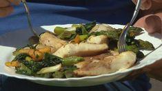 Serpenyőben sült tokhalszelet bormártással és zöldkörettel Seafood, Pork, Chicken, Recipes, Sea Food, Kale Stir Fry, Ripped Recipes, Pork Chops