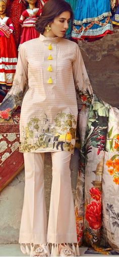 Trendy Trouser Designs 2018 In Pakistan Dresses Elegant, Stylish Dresses For Girls, Stylish Dress Designs, Simple Dresses, Casual Dresses, Summer Dresses, Summer Suits, Casual Summer, Pakistani Fashion Casual