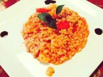 Risoto de Camarões (ou de frango) ao trio de Tomate - http://www.receitasgourmet.com/risoto-de-camaroes-ou-de-frango-ao-trio-de-tomate/