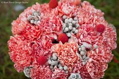 Coral / Orange Carnations with Spray Painted Brunia Pods and Billy Balls!