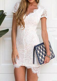 V Neck Lace Asymmetrical Hem White Dress