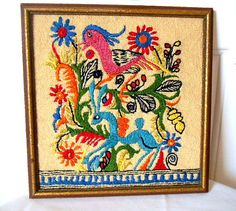 Vintage handstitched Bohemian bird framed wall Art by houuseofwren