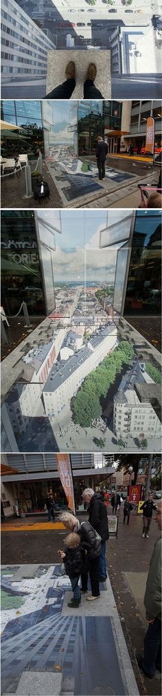 """Erik Johansson's commissioned perspective illusion for the 5th anniversary of the shopping gallery """"Skrapan"""" in Stockholm, Sweden."""