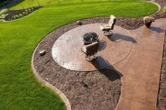 Stamped concrete with a sitting area for a fire pit!