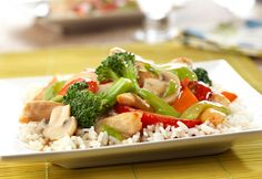 This delightful dish, featuring chicken,a colorful vegetable combination and a tasty garlic-ginger soy sauce is so much better than take-out.