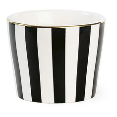 Miss Étoile Ceramic Pot - Black Stripe (£12) ❤ liked on Polyvore featuring home, kitchen & dining, serveware, ceramic serveware and ceramic pots