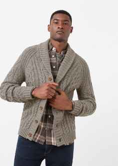 Cotton wool-blend cardigan | MANGO MAN