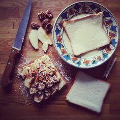 """Apple cinnamon french toast in progress"""