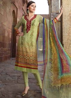 Glowing Parrot Green Neck Embroidery Viscose Printed Churidar Suit.online churidar shopping in Mumbai. http://www.angelnx.com/