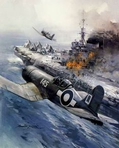 "lex-for-lexington: "" ""No place to land"" by Michael Turner - Royal Navy Corsairs return to their carrier HMS Illustrious to find a blazing flight deck following a Kamikaze attack in the South West..."