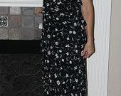 Vintage 70s Black with White Sleeveless Midi Dress – Evan Picone – Size 12