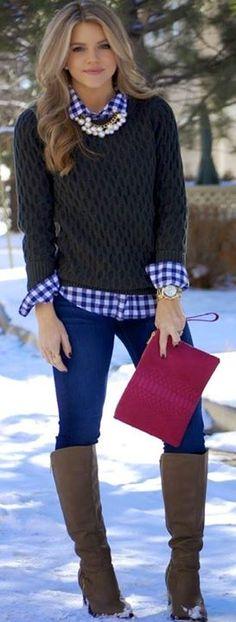 We love plaid worn in a classy way - just a peek, no overkill! www.classique1974.com