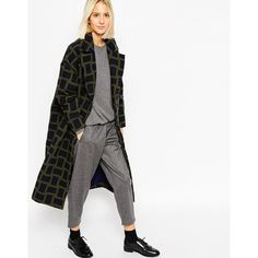 ASOS WHITE Oversized Coat in Grid Check ($285) ❤ liked on Polyvore featuring outerwear, coats, multi, asos coat, white coat, asos and oversized coat