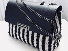SARAH Black and White Handmade Crochet Bag elegant bag