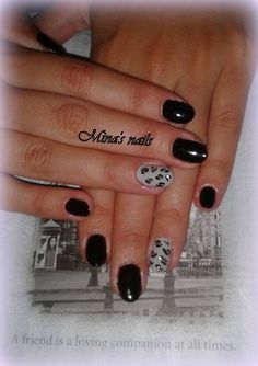 black & grey with animal print! Kyriakis nails... just perfect