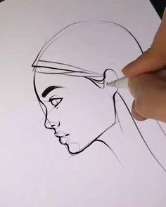 Drawing Tips Nature Art Drawings Sketches Simple, Pencil Art Drawings, Drawing Tips, Easy Drawings, Drawing Ideas, Drawing Hands, Side Face Drawing, Contour Line Drawing, Yoga Drawing
