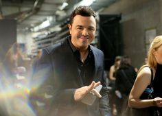 Seth MacFarlane backstage at the 58th Annual GRAMMY Awards on Feb. 15 in Los Angeles