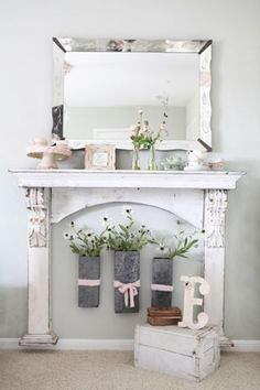 No fireplace? No problem. Find a recycled mantel, add accessories and enjoy the WOW factor!