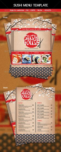 Sushi Menu Flyer Template can be used for Sushi House, Restaurant, japanese food, etc