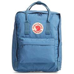 Fjallraven 'Kanken' Water Resistant Backpack ($80) ❤ liked on Polyvore featuring bags, backpacks, blue ridge, water resistant backpack, fjällräven, fjallraven backpack, long bags and fjallraven rucksack