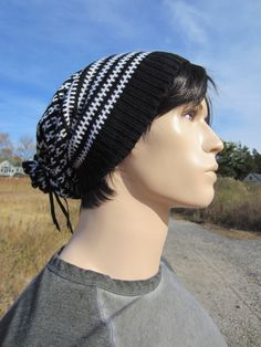 3b94725ecd3 Men s Black White Wool Knit Beanie Hat Slouch Tam by Vacationhouse