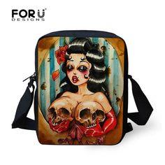 5ebdaba8b805 2016 Vintage bag cool skull men messenger bags graffiti men s travel bag  crossbody bags for boys