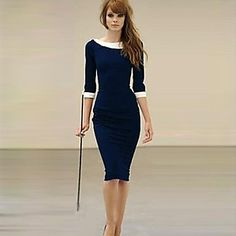 XinYuanGe® Women's Turn Down Collar Seven Point Sleeve Loose Dress - USD $ 25.49