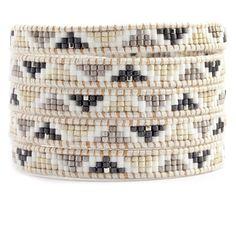 Chan Luu - White Mix Beaded Wrap Bracelet on Beige Leather Loom Bracelet Patterns, Bead Loom Bracelets, Beaded Wrap Bracelets, Bead Loom Patterns, Beading Patterns, Beaded Jewelry, Handmade Jewelry, Crochet Bracelet, Pandora Bracelets