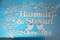 Personalised wedding papercut, customisable colours, names and dates.