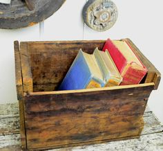 Rustic Wood Box Vintage Crate Shelf from Libby Owens by fancypak