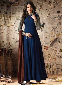 05e48bc2c7 Blue Embroidery Work Chiffon Georgette Designer Long Fancy Anarkali Suit.  Buy online shopping salwar kameez at - Chennai.